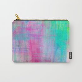 Vibrant Colorful Brush Strokes Painting // Rainbow Multicolor // Magenta Pink Yellow Green Aqua Carry-All Pouch