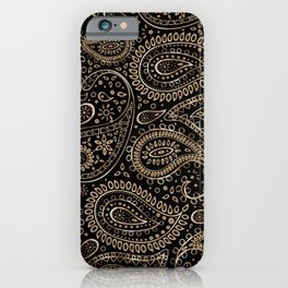 Beautiful Pattern of Paisley Art, Flowers, Doodles - Gradient Gold Pattern iPhone Case