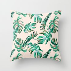 Tropical Palm Leaves Coral Greenery Throw Pillow