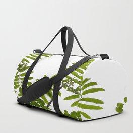 Green Rowan Leaves White Background #decor #society6 #buyart Duffle Bag