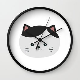Cat with white fur and black hair Wall Clock