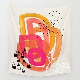 Mid Century Modern Abstract Colorful Art Ombre Magenta Yellow Circles Raindrops Geometric Pattern Wall Tapestry