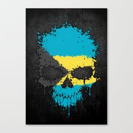 Flag of Bahamas on a Chaotic Splatter Skull Canvas Print