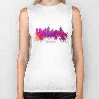 minneapolis Biker Tanks featuring Minneapolis skyline purple by jbjart