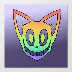 Rainbow Cat Head (black outline) Canvas Print