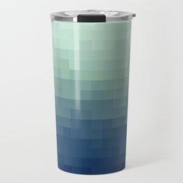 Gradient Pixel Aqua Travel Mug