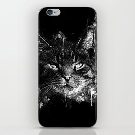 cat eyes splatter watercolor black white iPhone Skin