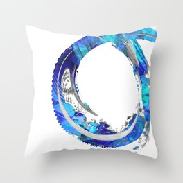 White And Blue Abstract Art - Swirling 4 - Sharon Cummings Throw Pillow
