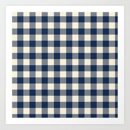 Buffalo Plaid Rustic Lumberjack Blue and White Check Pattern Art Print