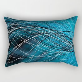 Cyan Swirling Lines Rectangular Pillow