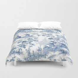 Powder Blue Chinoiserie Toile Bettbezug