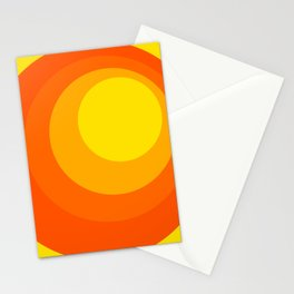70s style - Retro - Yellow Orange Brown Non-Concentric Circles pattern Stationery Cards
