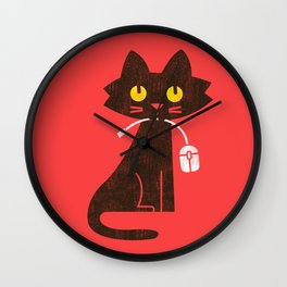 Fitz - Hungry hungry cat (and unfortunate mouse) Wall Clock