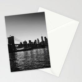 Nighttime NYC Skyline - Brooklyn Bridge Stationery Cards