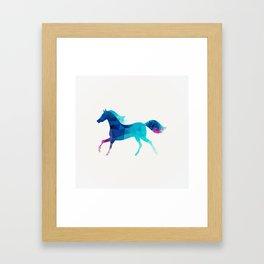 blue horse made of triangles Framed Art Print