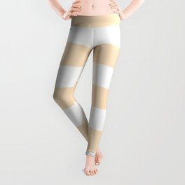 Bisque - solid color - white stripes pattern Leggings