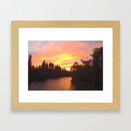 Rogue River, Grants Pass, Sunset Framed Art Print