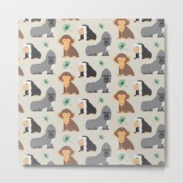 African Monkey Pattern Metal Print