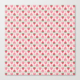 Strawberry Halves Pattern in Pink Canvas Print