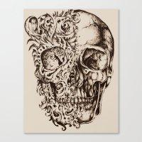 skeleton Canvas Prints featuring Skeleton by ViviRajski