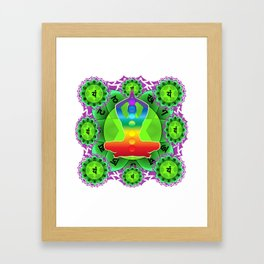SANSKRIT GREEN HEART CHANTING MANTRA ART Framed Art Print