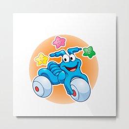 Cute tricycle cartoon and stars Metal Print