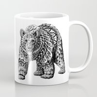 bioworkz Mugs featuring Ornate Bear by BIOWORKZ