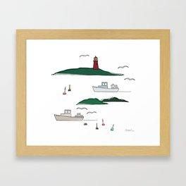 Lobstering in the Harbor Framed Art Print