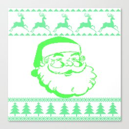 Santa Face Ugly Sweater Canvas Print