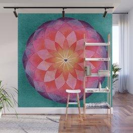 Watercolor Sacred Geometry Flower Mandala Wall Mural