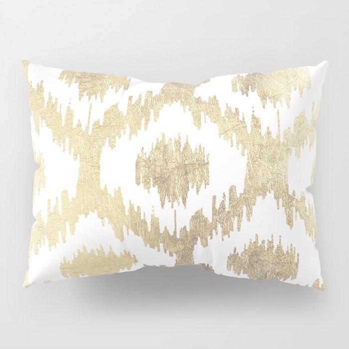 Modern white hand drawn ikat pattern faux gold Pillow Sham