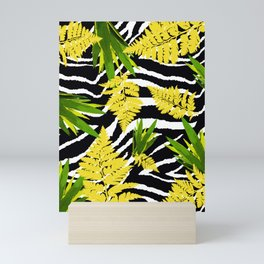 ZEBRA PALMS AND FERNS YELLOW AND GREEN Mini Art Print