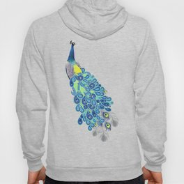 Peacock - Green, Yellow and Gray Hoody
