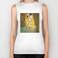 vienna Biker Tanks featuring Gustav Klimt The Kiss by Art Gallery