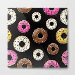 Donut Pattern - Black Metal Print