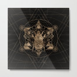 Bumble Bee in Sacred Geometry - Black and Gold Metal Print