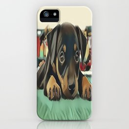 Doberman Puppy Protecting the 027 Railroad iPhone Case