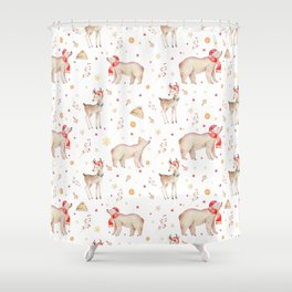 Christmas brown white winter forest animals floral Shower Curtain