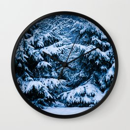 Winter Forest Christmas Tree Wall Clock