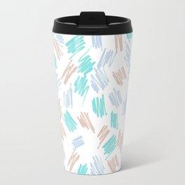 Modern pastel brown teal watercolor brushstrokes pattern Travel Mug