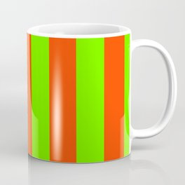 Bright Neon Green and Orange Vertical Cabana Tent Stripes Coffee Mug