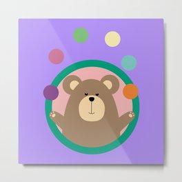 Juggling Brown Bear in circle Metal Print