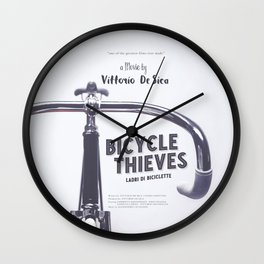 Bicycle Thieves - Movie Poster for De Sica's masterpiece. Neorealism film, fine art print. Wall Clock