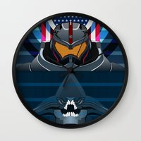 pacific rim Wall Clocks featuring Pacific Rim, Jaws edition by milanova
