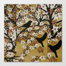 brown tan coffee beige birds design art designs with gold leaves and tree of life lovebirds Canvas Print