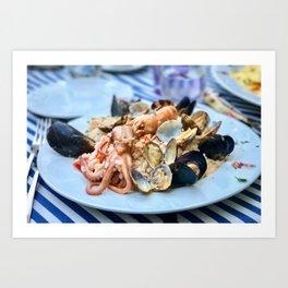 Seafood risotto Art Print