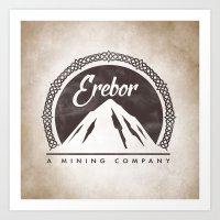 gondor Art Prints featuring Erebor mining company by Nxolab