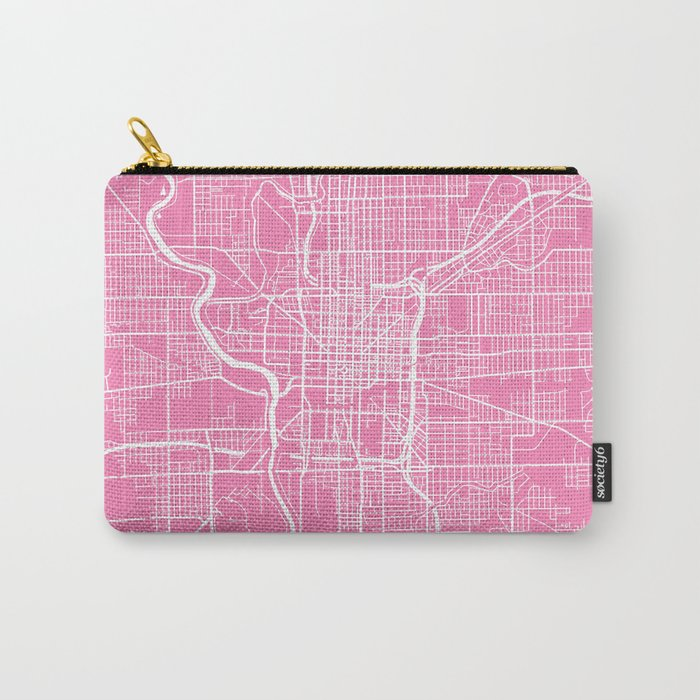 Indianapolis map pink Carry-All Pouch