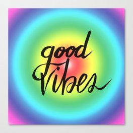 Good Vibes - Rainbow Pride Canvas Print