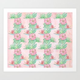 Tropical flowers and leaves watercolor Art Print